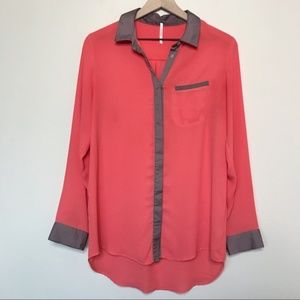 Free People Coral Satin Trim Button Down Top Small